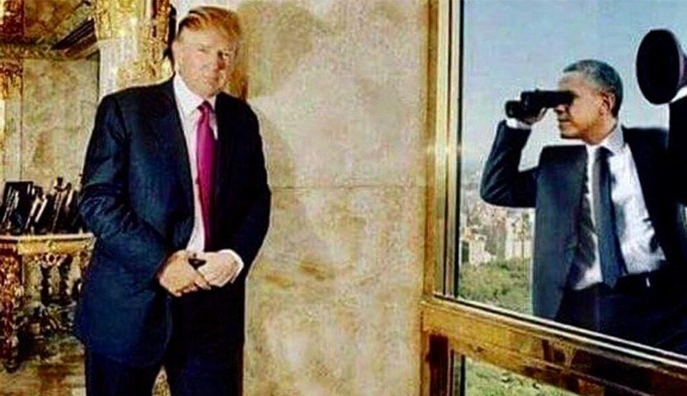 Trump shares satirical image of Obama spying on him at Trump Tower amid FISA abuse developments